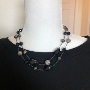 Black, Grey & Rhinestone Beaded Necklace